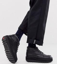 Черные кожаные ботинки на толстой платформе Kickers-Синий