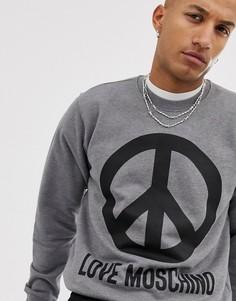 Свитер с символом мира Love Moschino-Серый