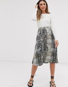 Атласная юбка миди со змеиным принтом JDY-Мульти