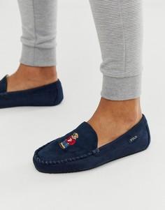 Темно-синие слиперы с вышивкой в виде медведя Polo Ralph Lauren-Темно-синий