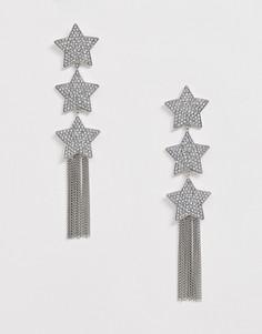 Серебристые серьги с подвесками в виде звездочек с кристаллами и цепочками ASOS DESIGN-Серебряный