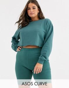 Комбинируемый укороченный свитшот темного сине-зеленого цвета ASOS DESIGN Curve-Зеленый