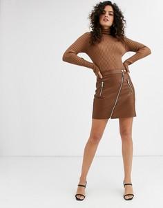 Коричневая мини-юбка из искусственной кожи Stradivarius-Коричневый