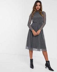 Сетчатое приталенное платье миди с длинными рукавами Y.A.S-Черный