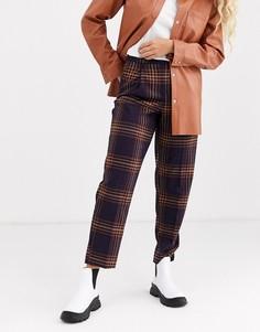 Строгие брюки-галифе сливового цвета в клетку Monki-Фиолетовый