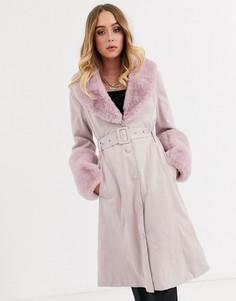 Розовое пальто из искусственной замши с меховой отделкой Missguided-Розовый