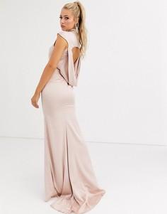 Светло-золотистое атласное платье макси с драпировкой на спине и годе Jarlo-Золотой