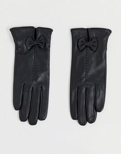 Кожаные перчатки с бантиками Barneys Originals-Черный