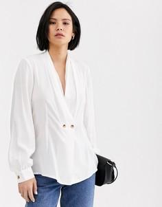 Двубортная рубашка с глубоким V-образным вырезом Selected Femme-Белый
