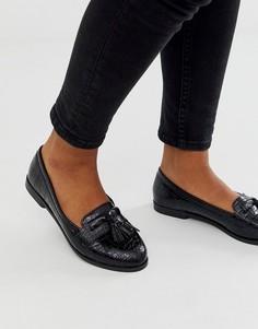 Черные лоферы с крокодиловым рисунком и бахромой New Look-Черный