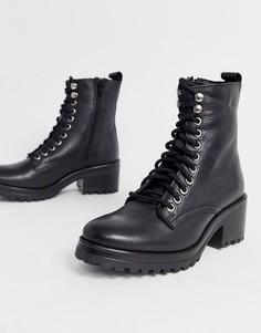 Черные кожаные ботинки на шнуровке Steve Madden-Черный