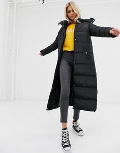 Длинная дутая куртка с искусственным мехом на капюшоне Brave Soul hopma-Черный