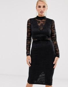 Платье миди с кружевными длинными рукавами AX Paris-Черный