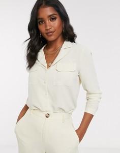 Блузка в стиле 70-х с карманом спереди Vero Moda-Бежевый
