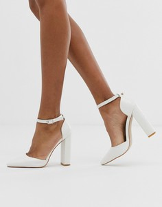 Белые туфли на блочном каблуке с рисунком крокодиловой кожи Public Desire - Sofia-Белый