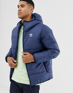 Темно-синяя дутая куртка с логотипом adidas Originals-Темно-синий