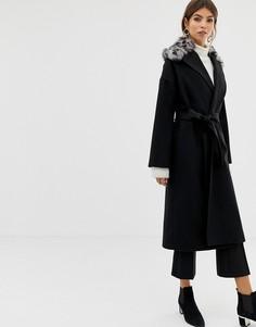 Пальто из смешанной шерсти с леопардовым принтом Helene Berman-Черный