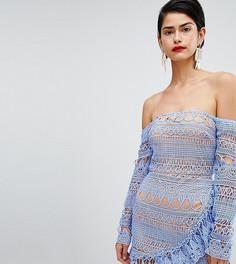 Кружевное платье с оборками Missguided-Синий