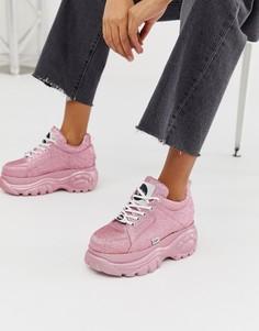 Низкие розовые кроссовки на платформе с блестками Buffalo London London Classic Kicks-Розовый