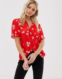 Красная блузка с цветочным принтом и завязкой Pimkie-Красный