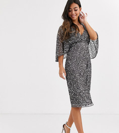 Темно-серое платье миди с запахом и пайетками Maya Petite - Bridesmaid-Серый