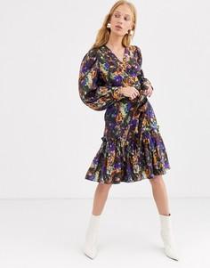 Разноцветное платье с размытым цветочным принтом и пышными рукавами на манжетах & Other Stories-Мульти