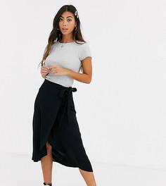 Черная юбка миди с запахом New Look Petite-Черный
