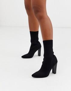 Черные полусапожки с острым носком Missguided-Черный
