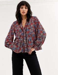 Разноцветная блузка с цветочным принтом Topshop-Мульти