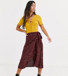 Красная юбка миди с запахом и леопардовым принтом New Look Petite-Красный