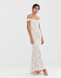 Белое кружевное платье макси Jarlo-Белый