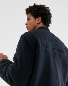 Флисовый бомбер с принтом на спине Love Moschino-Темно-синий
