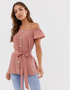 Розовая блузка с пуговицами и короткими рукавами River Island-Розовый
