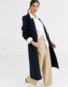 Длинное однобортное пальто Selected-Темно-синий