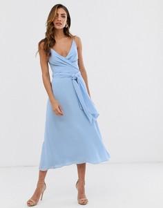 Платье миди с запахом и завязкой на талии ASOS DESIGN-Синий