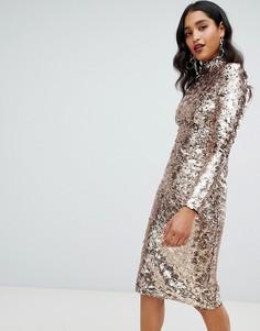 Платье миди с высоким воротником и золотистыми пайетками TFNC-Золотой