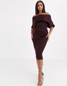 Платье-карандаш миди с открытыми плечами ASOS DESIGN-Фиолетовый