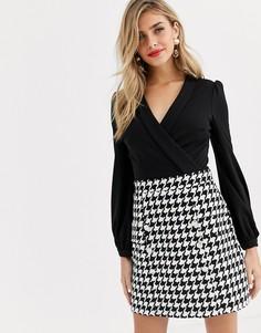 Черное платье 2 в 1 с вырезом капелькой и узором в ломаную клетку Lipsy-Мульти