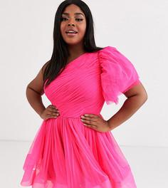 Розовое платье мини для выпускного с пышными рукавами Lace & Beads Plus-Розовый