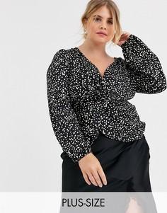 Блузка в горошек с глубоким вырезом Outrageous Fortune Plus-Мульти