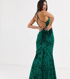 Бархатное платье макси с высоким воротом и перекрестной спиной Flounce London Petite-Зеленый