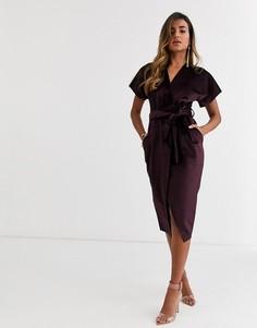 Сливовое бархатное платье миди с запахом и поясом Closet London-Фиолетовый