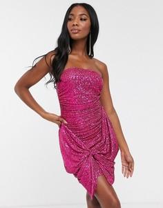 Розовое платье-бандо с пайетками и бантом Club L London-Розовый