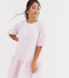 Свободное фактурное платье ASOS DESIGN Petite-Розовый