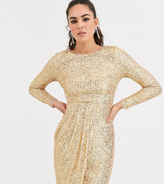 Золотистое платье миди с запахом и пайетками TFNC-Золотой