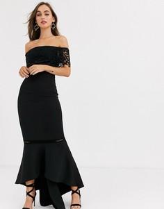 Черное кружевное премиум-платье миди с оборками Chi Chi London-Черный