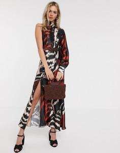 Атласное платье миди на одно плечо с абстрактным принтом Liquorish-Мульти