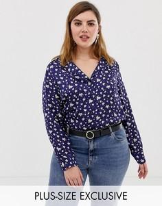 Атласная блузка в винтажном стиле с отложным воротником и цветочным принтом Glamorous Curve-Темно-синий