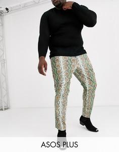 Зеленые облегающие джинсы со змеиным принтом ASOS DESIGN Plus-Синий