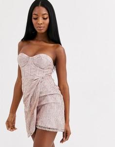 Платье мини с цветочной отделкой Love Triangle-Розовый